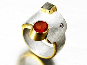 Square Fireopal Ring