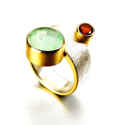 Satellite Andean Opal/ Fire Opal ring