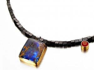 Square Australian Opal necklace