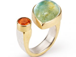 Aquamarine Fire Opal ring